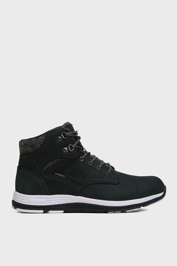 Мужские темно-синие кожаные ботинки