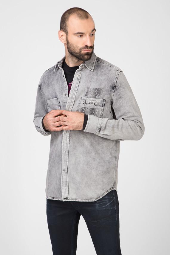 Мужская серая джинсовая рубашка D-MILOV CAMICIA
