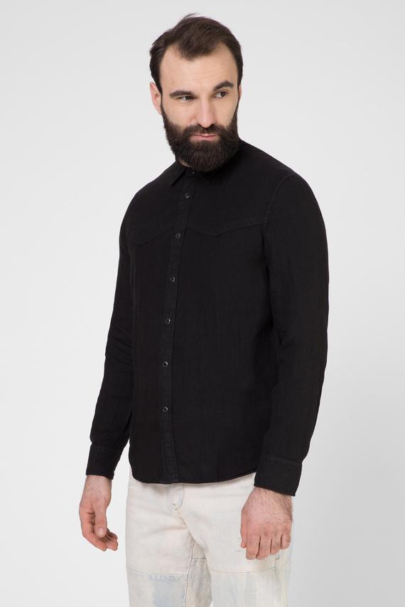 Мужская черная льняная рубашка S-PLAN-B