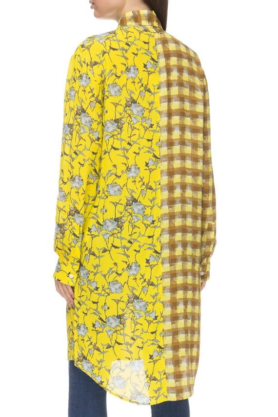 Женская желтая удлиненная блуза
