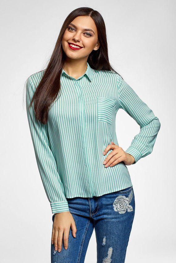 Женская мятная рубашка в полоску