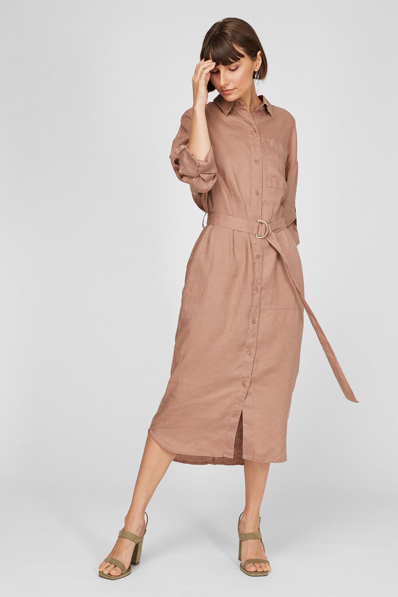 Жіноча коричнева лляна сукня 1