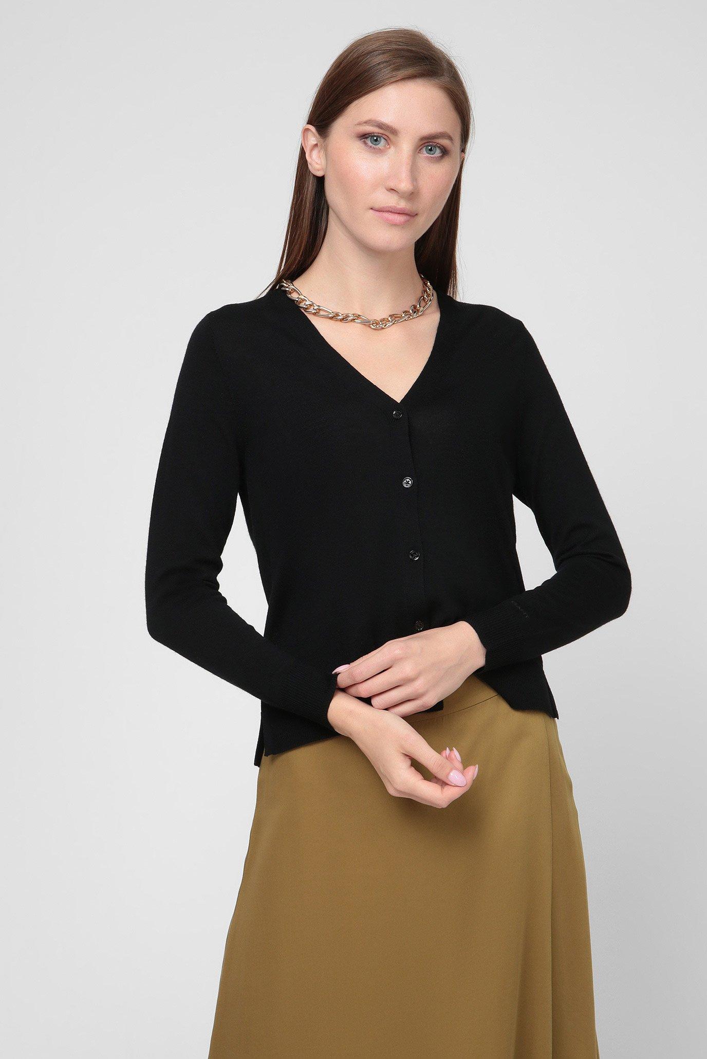 Женский черный шерстяной кардиган WASHABLE MERINO 1