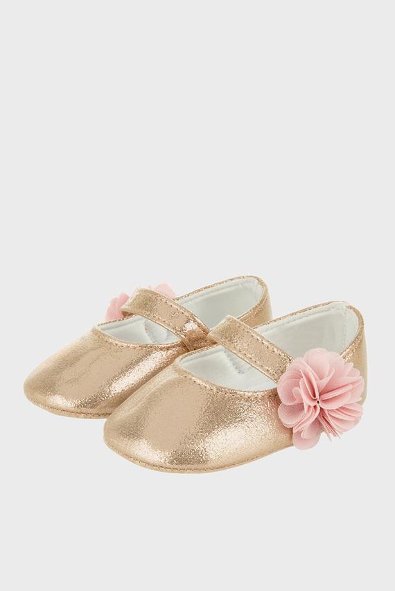 Детские золотистые балетки Baby Ariel Shimmer Corsage Strap Bootie