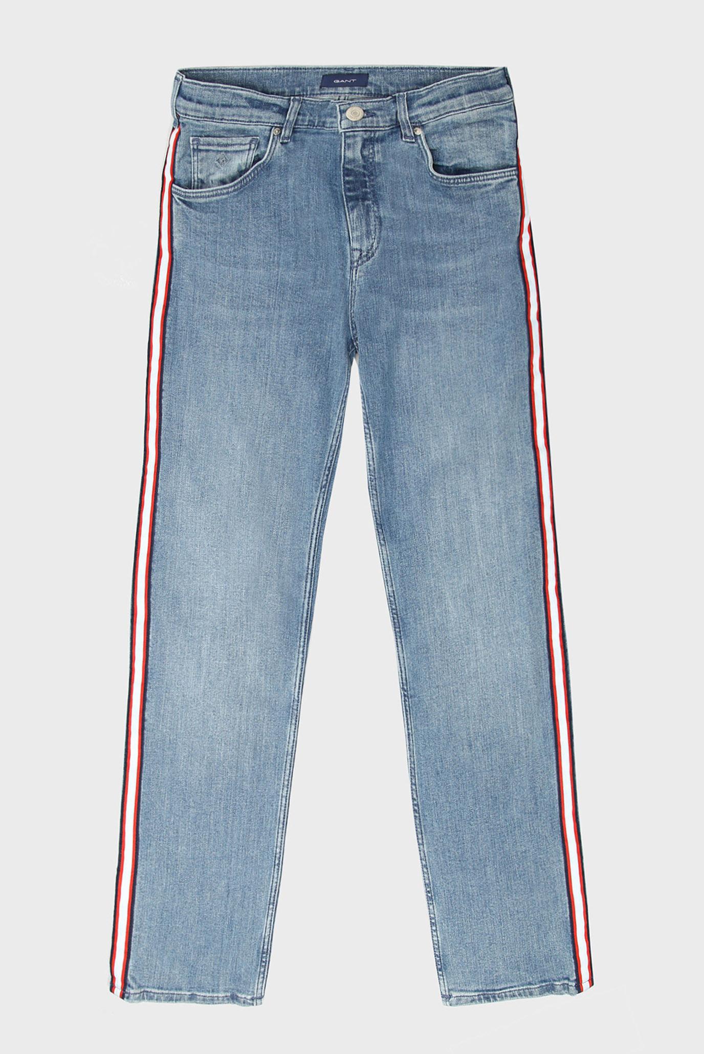 Детские голубые джинсы с лампасами 1