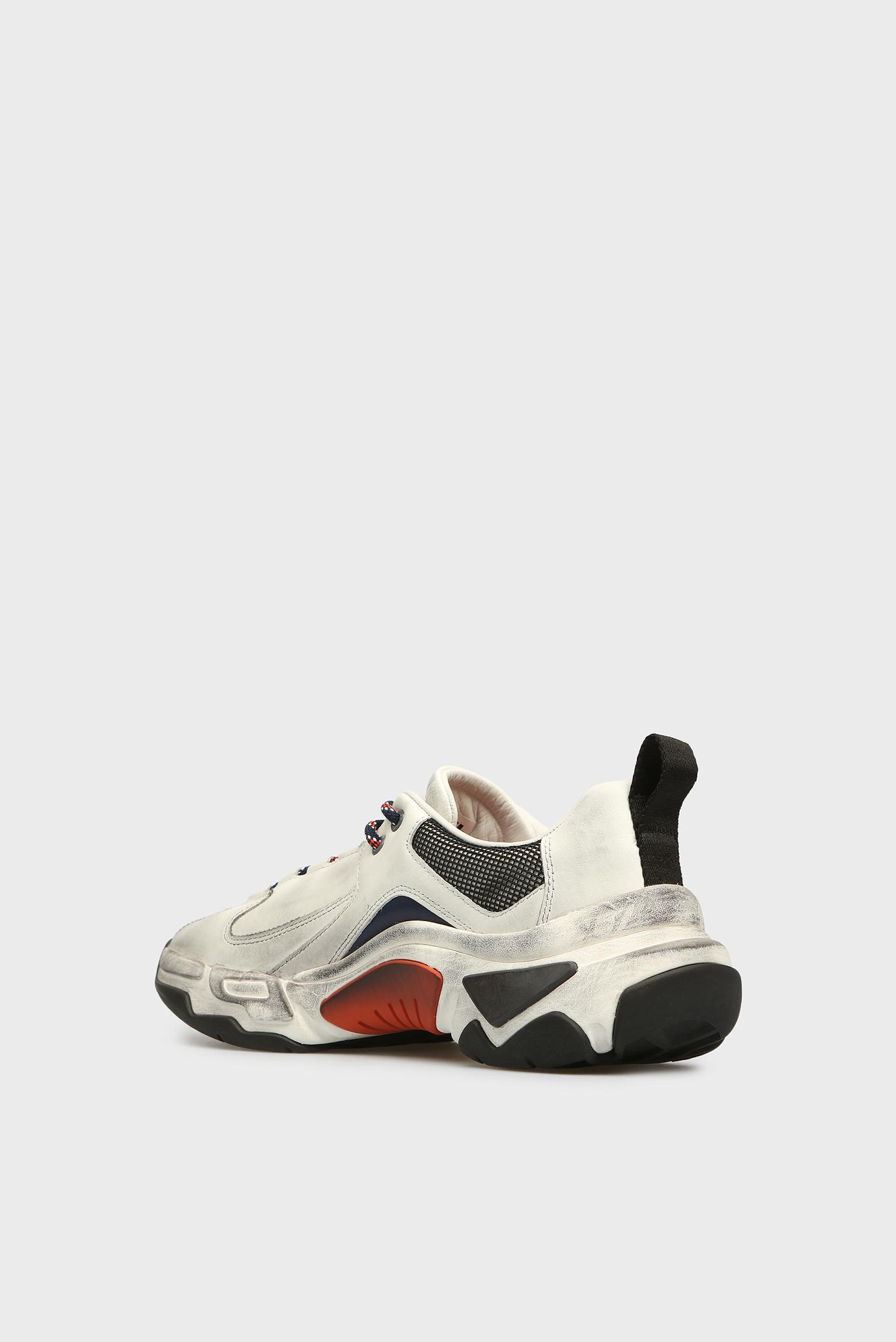 Купить Мужские белые кожаные кроссовки SKIPPER Diesel Diesel Y01826 PR013 – Киев, Украина. Цены в интернет магазине MD Fashion