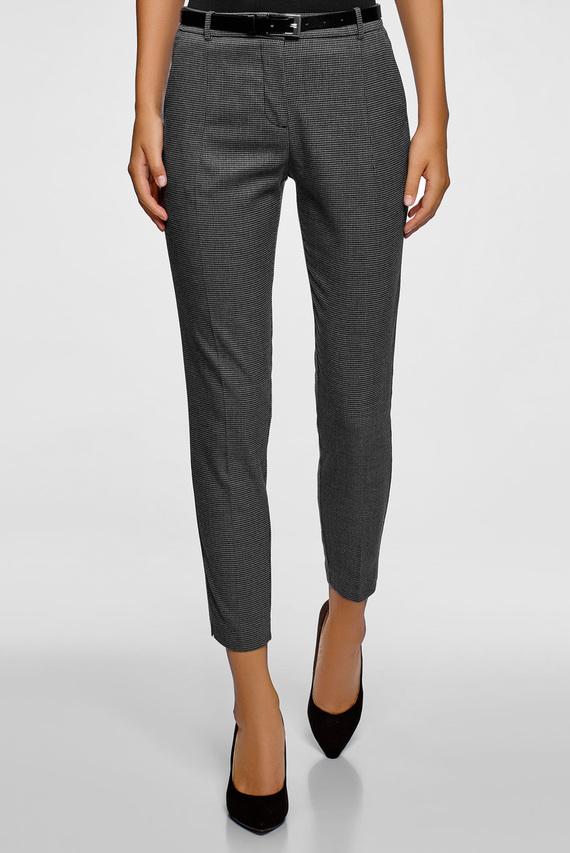 Женские серые брюки с узором