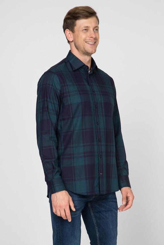 Мужская зеленая рубашка в клетку