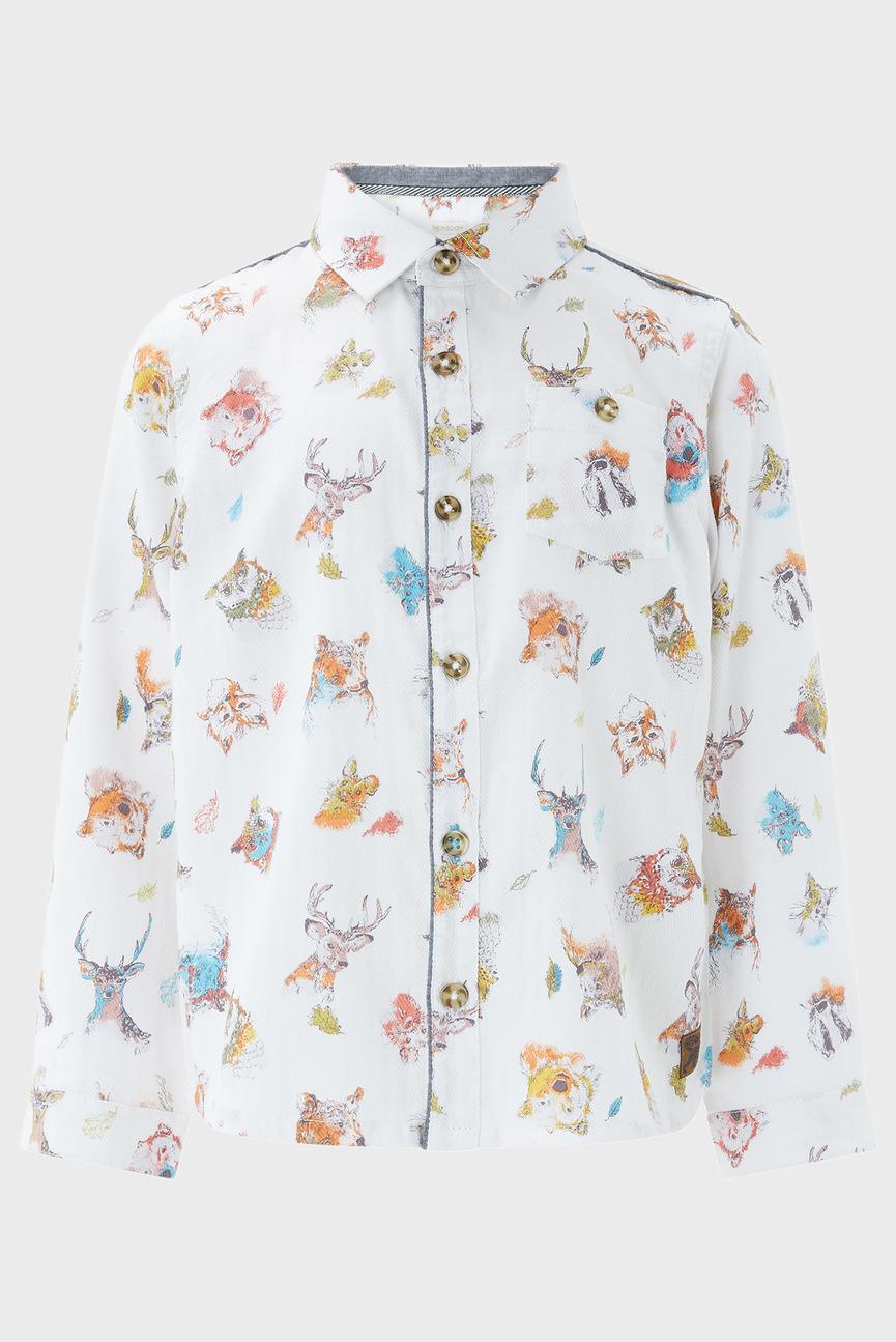 Детская белая рубашка с принтом