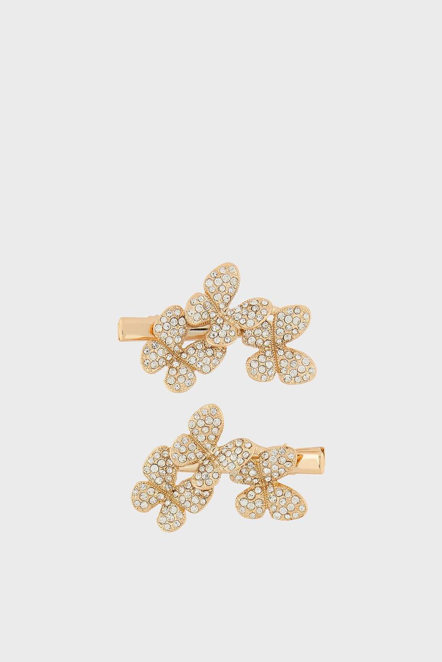 Детские золотистые заколки Maria Triple Butterfly Clips (2 шт)