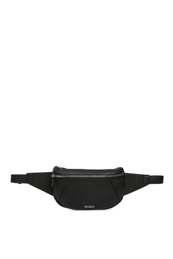 Женская черная кожаная поясная сумка