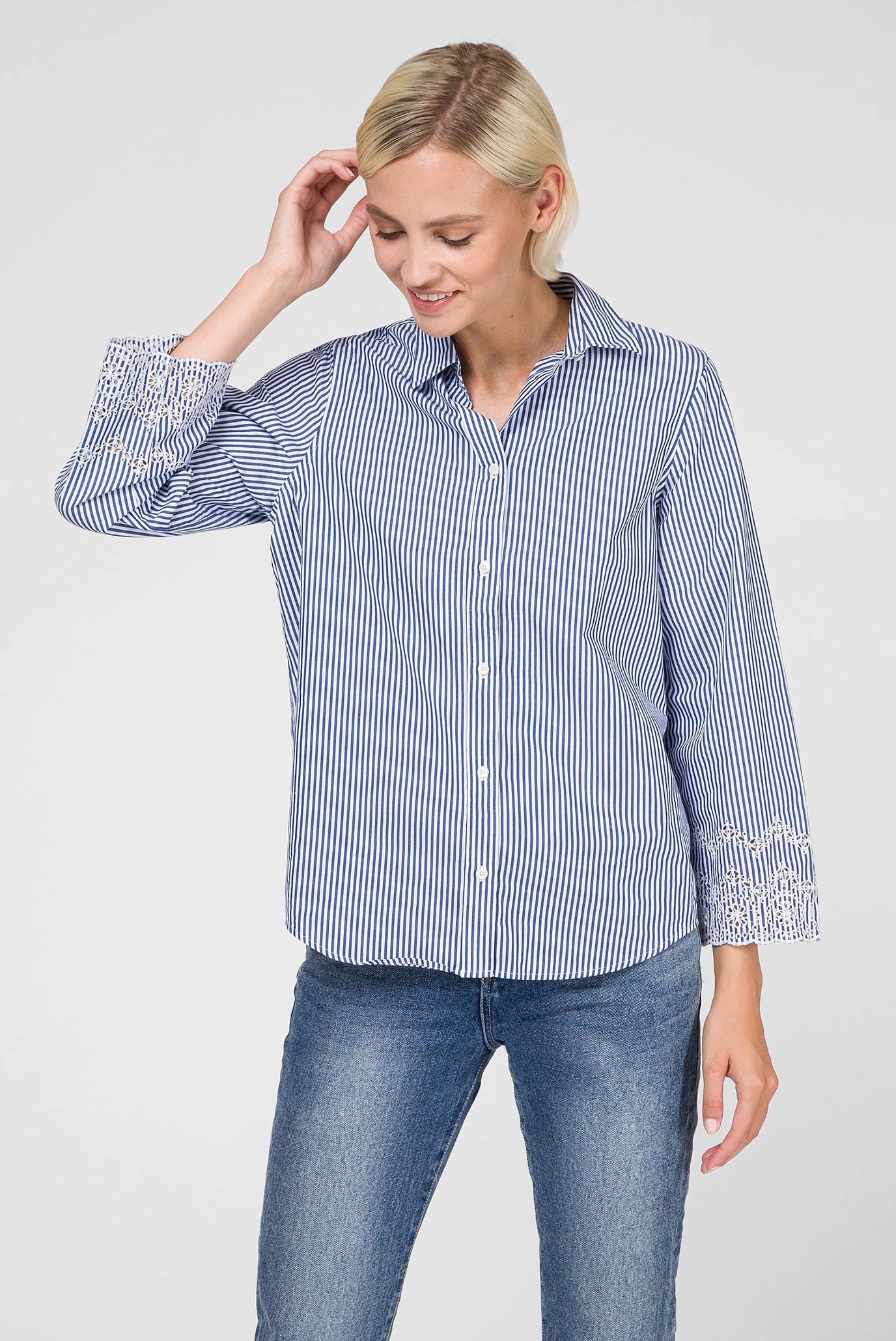 Женская синяя блуза в полоску BRODERIE ANGLAISE SHIRT Gant