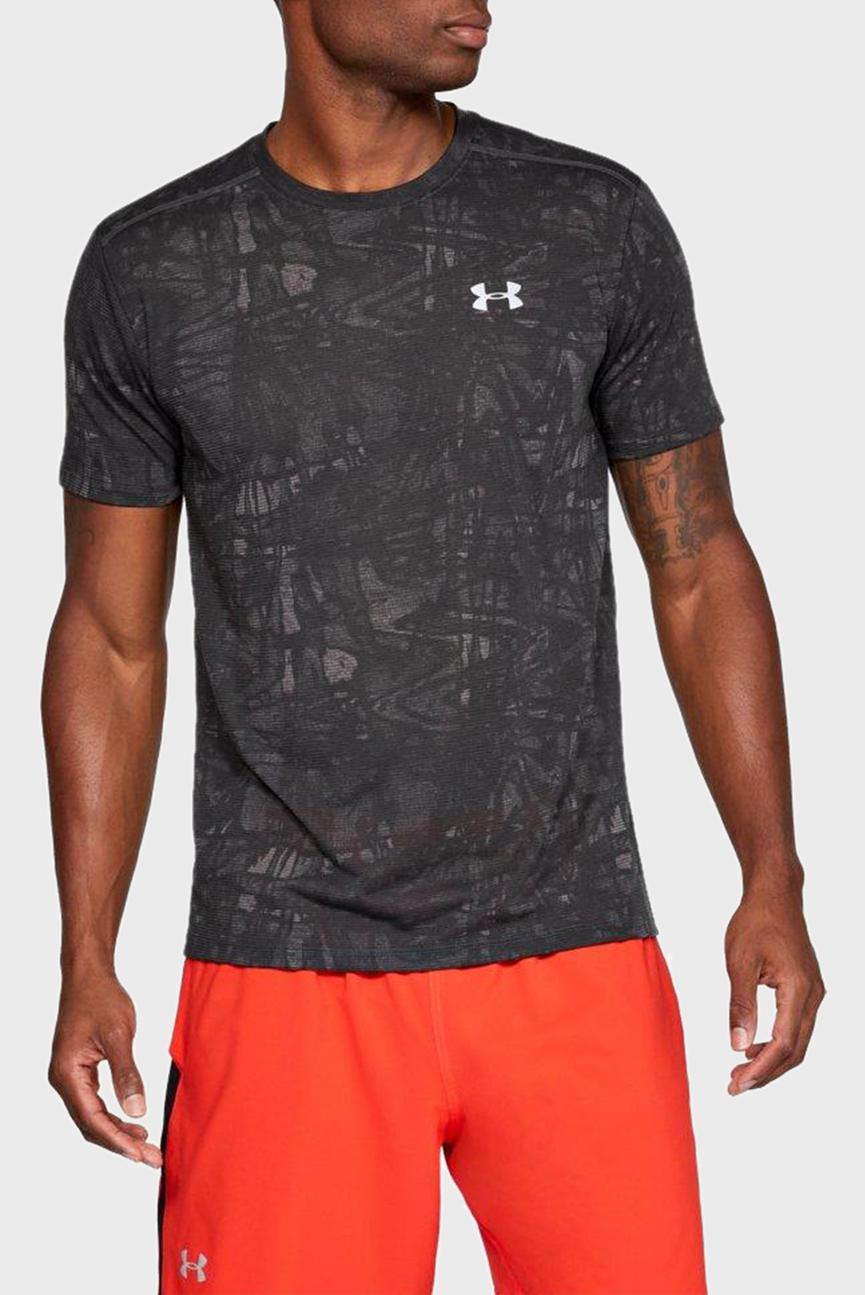 Мужская серая футболка с принтом UA STREAKER PRINTED SS CREW