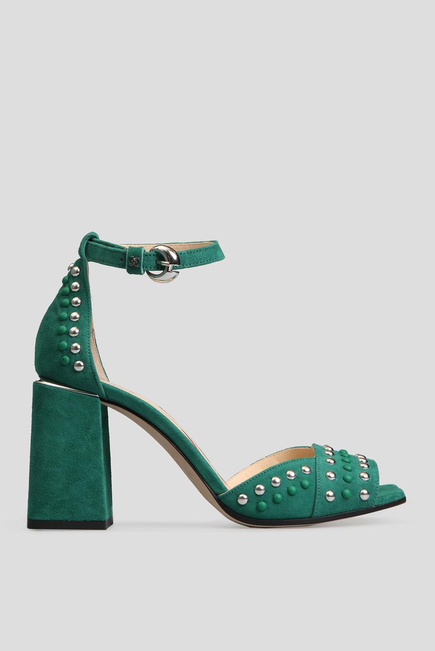 Женские зеленые замшевые босоножки