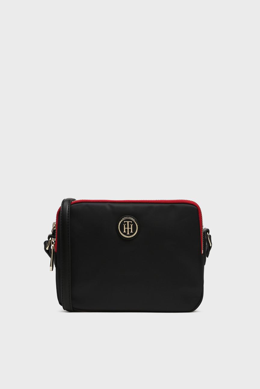 Женская черная сумка через плечо POPPY