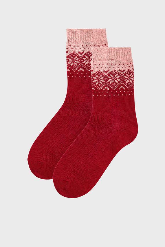 Женские красные носки COLOURBLOCK FAIRISLE