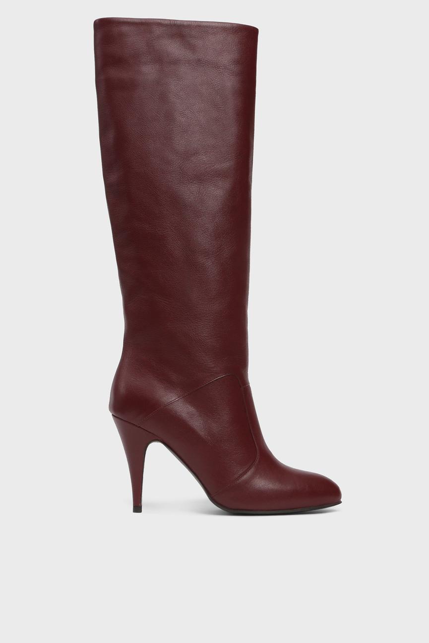 Женские бордовые кожаные сапоги ZENDAYA