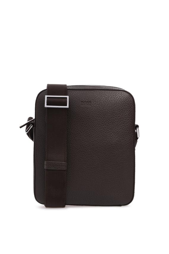 Мужская темно-коричневая кожаная сумка через плечо