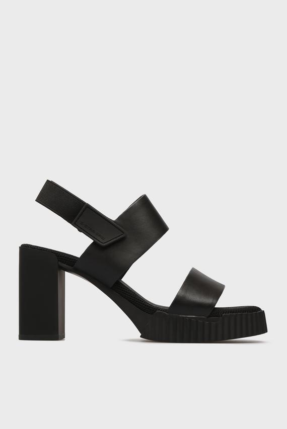 Женские черные кожаные босоножки