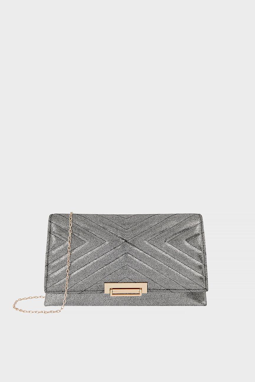 Женский серый клатч METALLIC TRAPEZE BAG