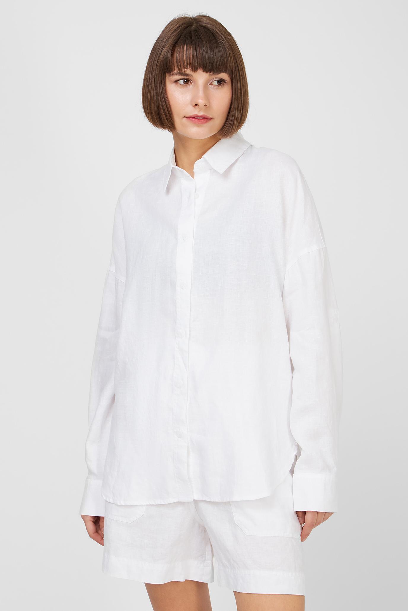 Женская белая льняная рубашка 1