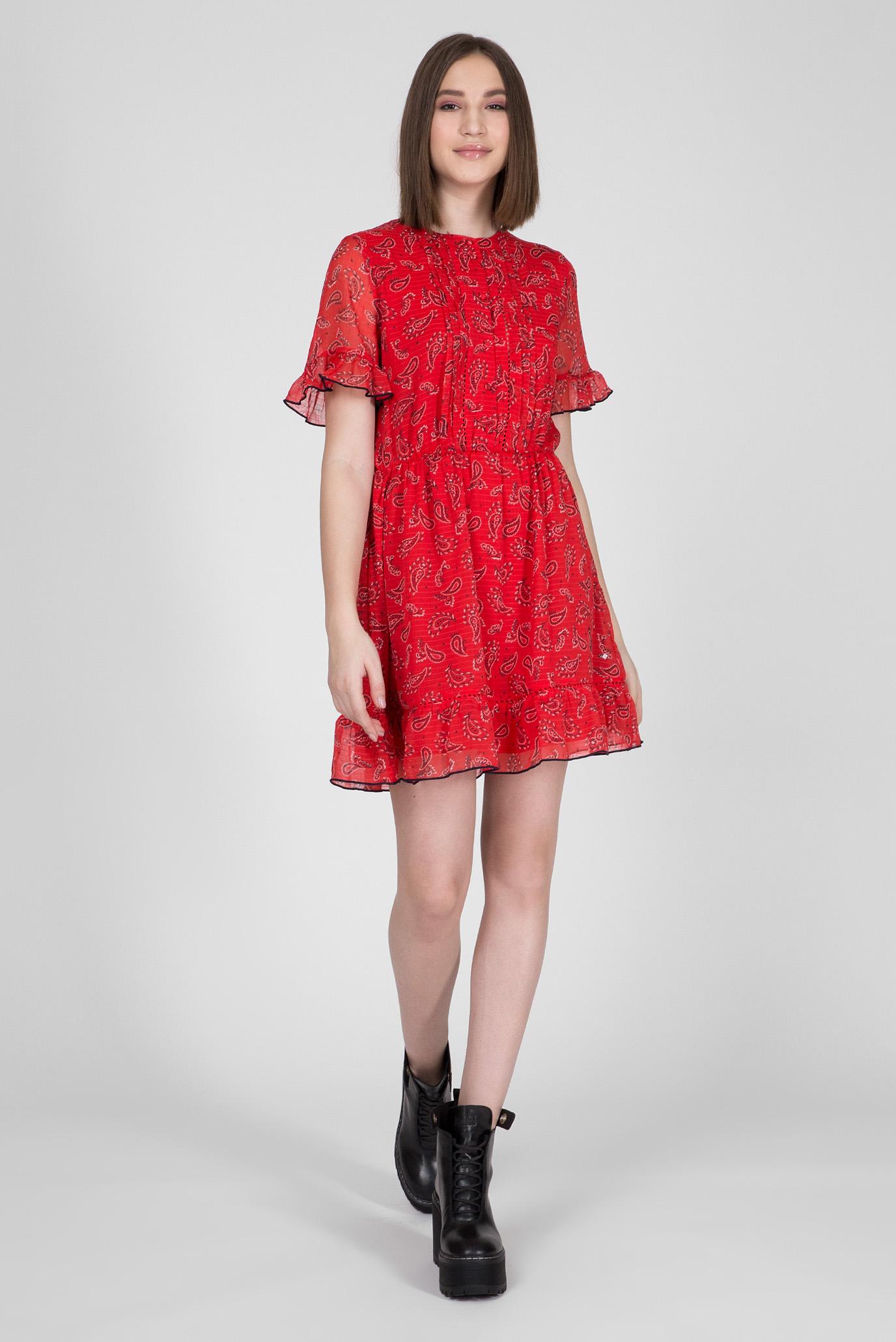 Женское красное платье с абстрактным узором TJW FRILL HEM SHORTSLEEVE Tommy Jeans