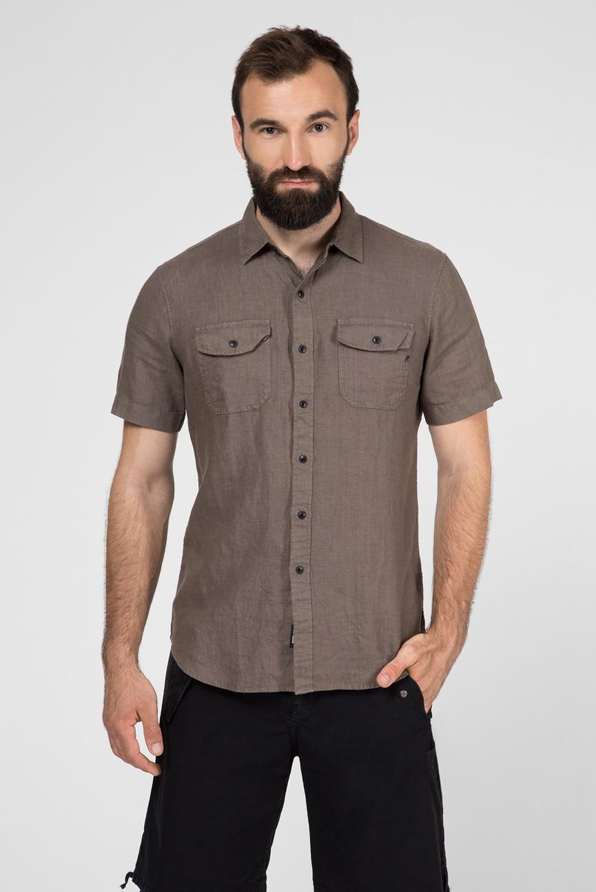 Мужская светло-коричневая льняная рубашка