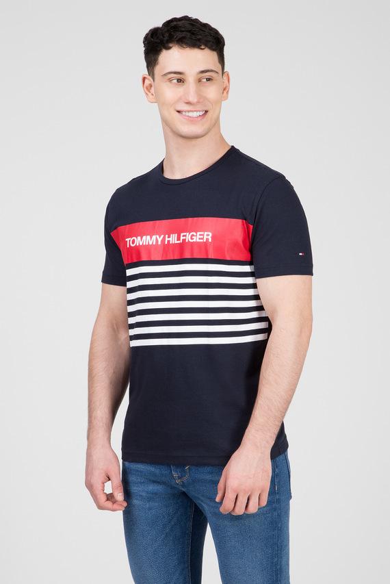 Мужская синяя футболка WCC COLOUR BLOCK STRIPE