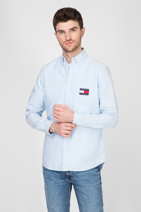 Мужская голубая рубашка TJM OXFORD BADGE