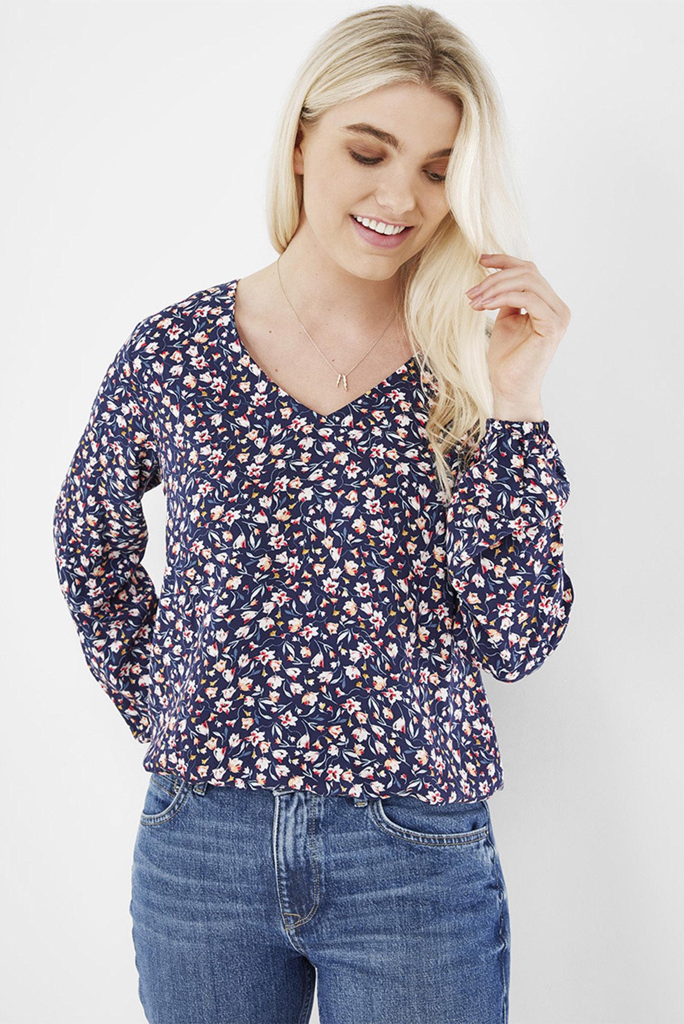 Женская темно-синяя блуза с узором 1