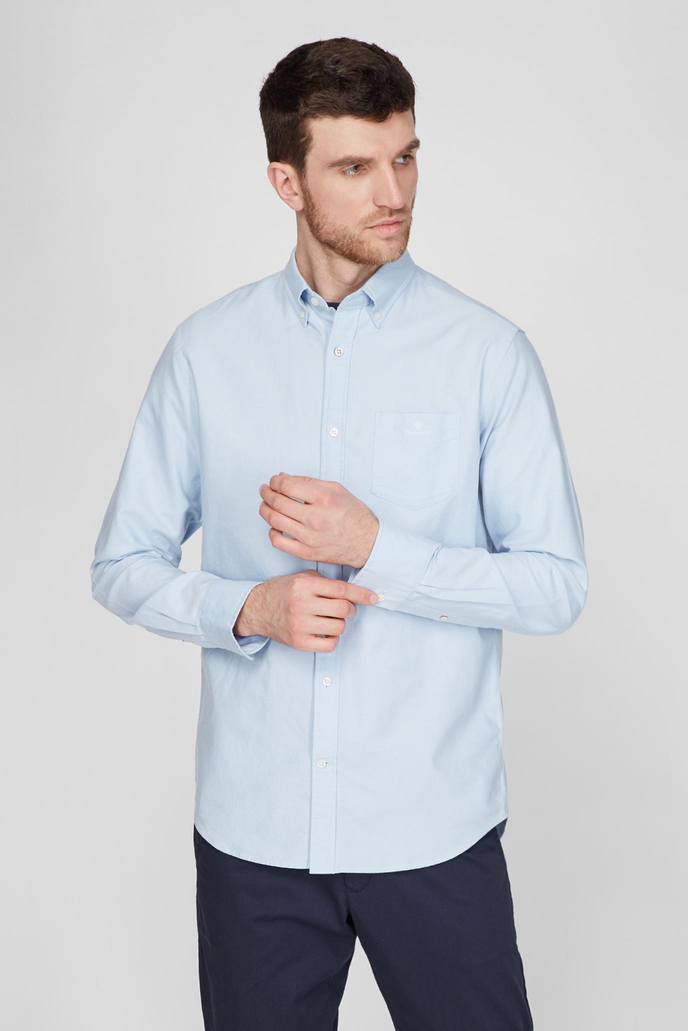 Мужская голубая рубашка REG BEEFY OXFORD 1