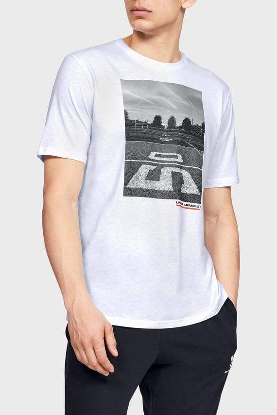 Мужская белая футболка с принтом UA ASCEND SS