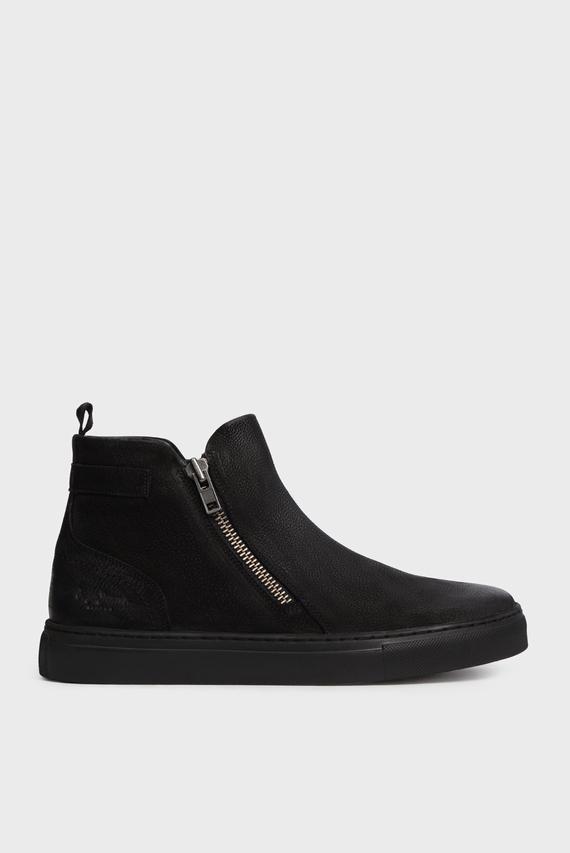 Мужские черные кожаные хайтопы MLT ZIPS