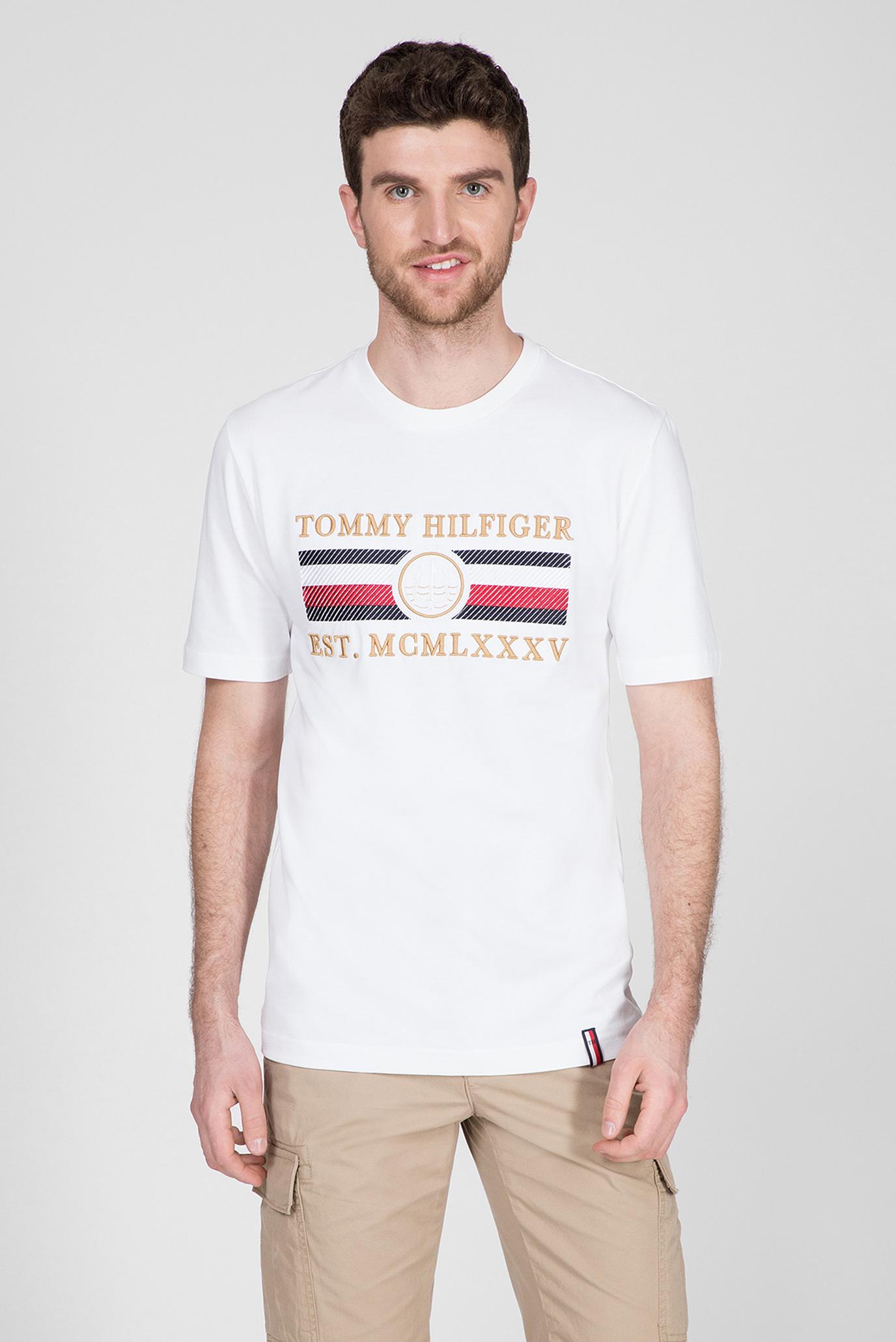 Мужская белая футболка ICON STRIPE RELAXED FIT 1