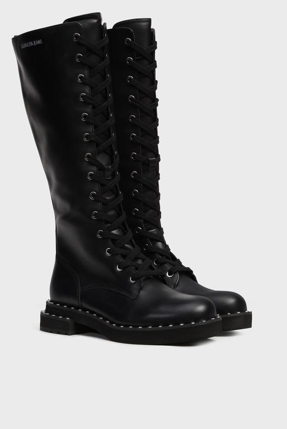 Женские черные кожаные сапоги NETTA