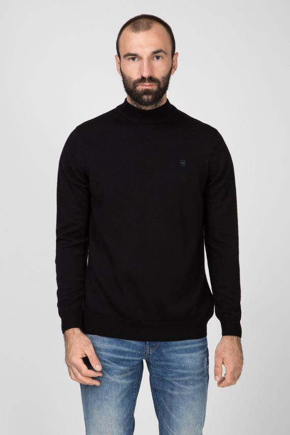 Мужской черный шерстяной свитер