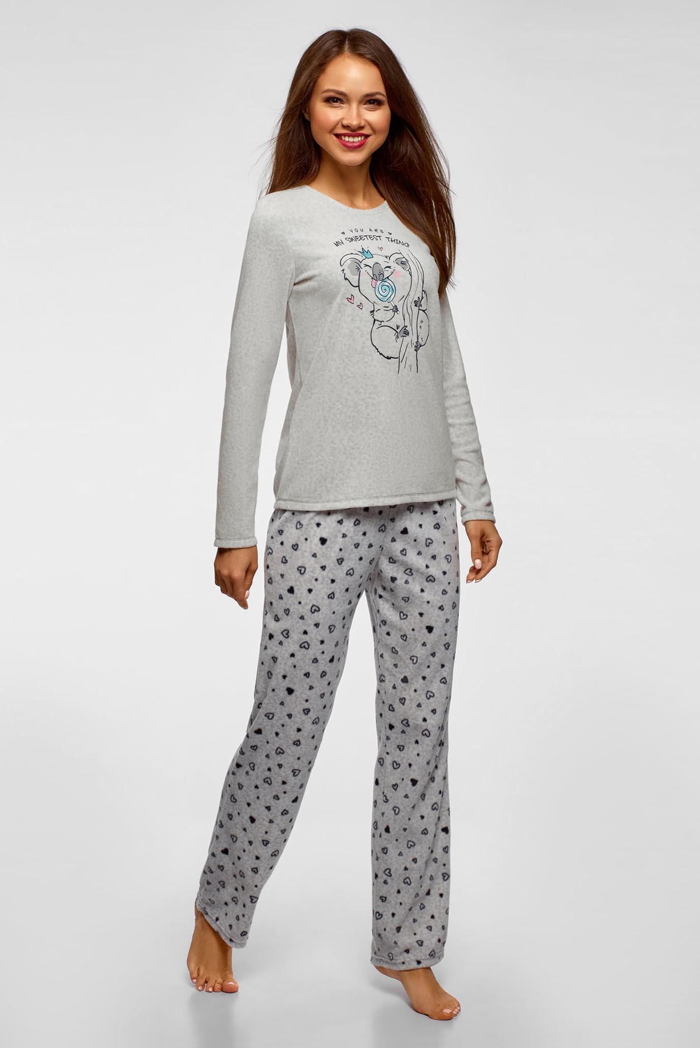 Женский серый пижамный джемпер Oodji