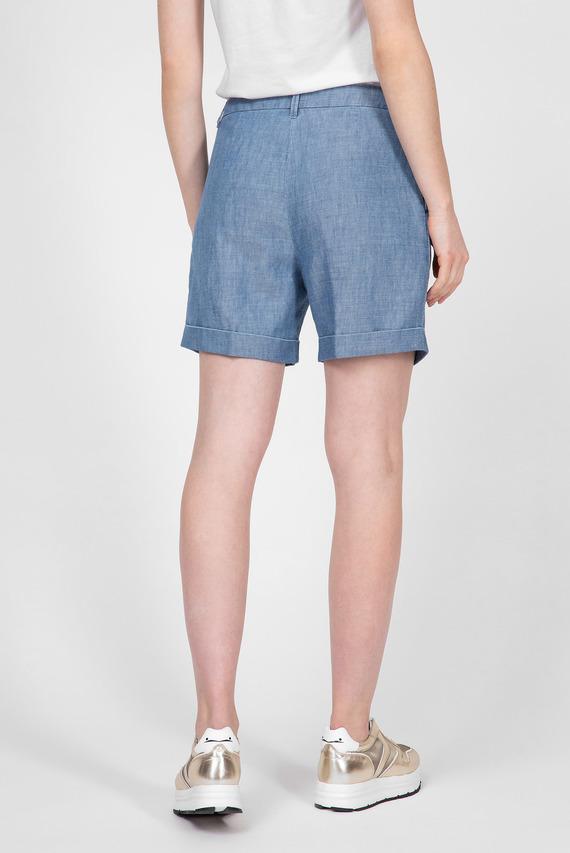 Женские голубые льняные шорты