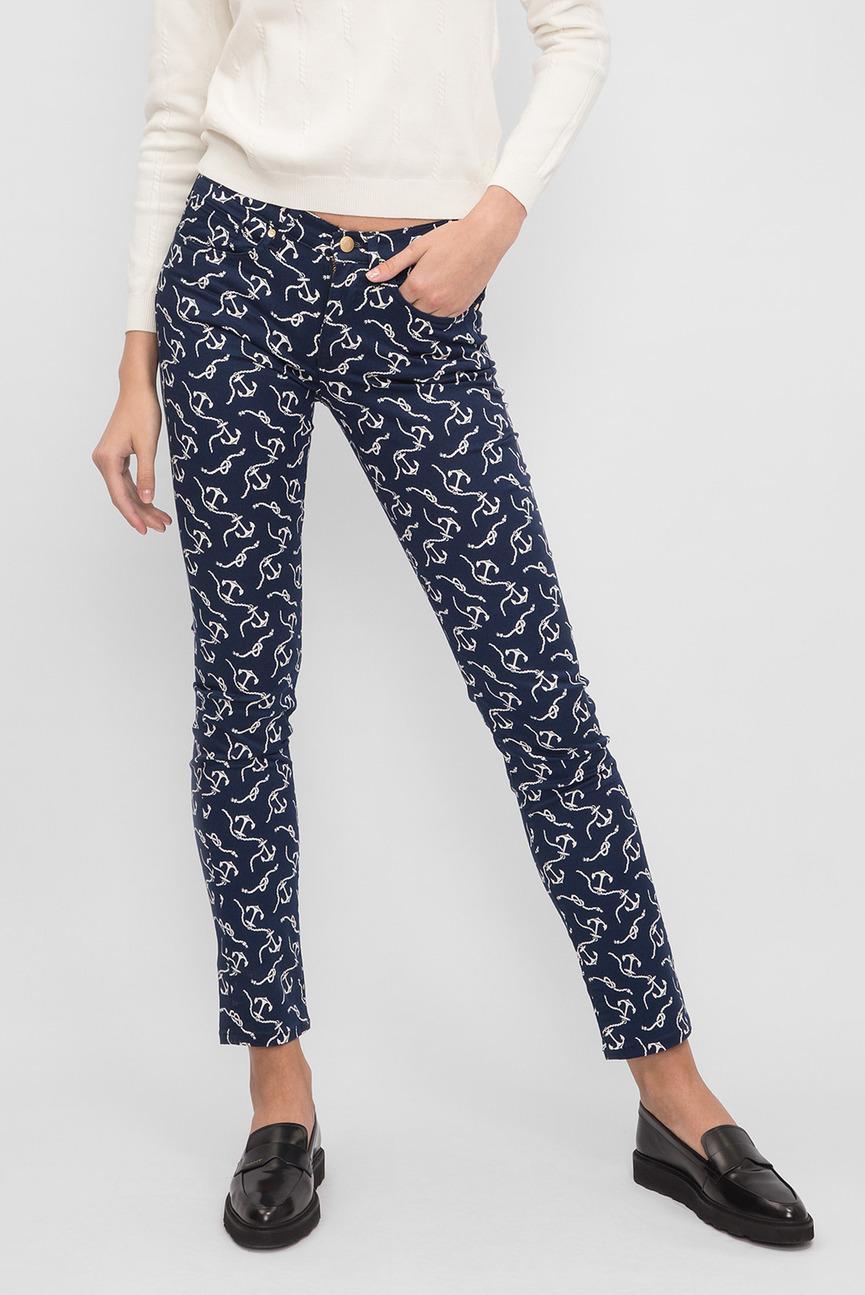 Женские темно-синие брюки с принтом