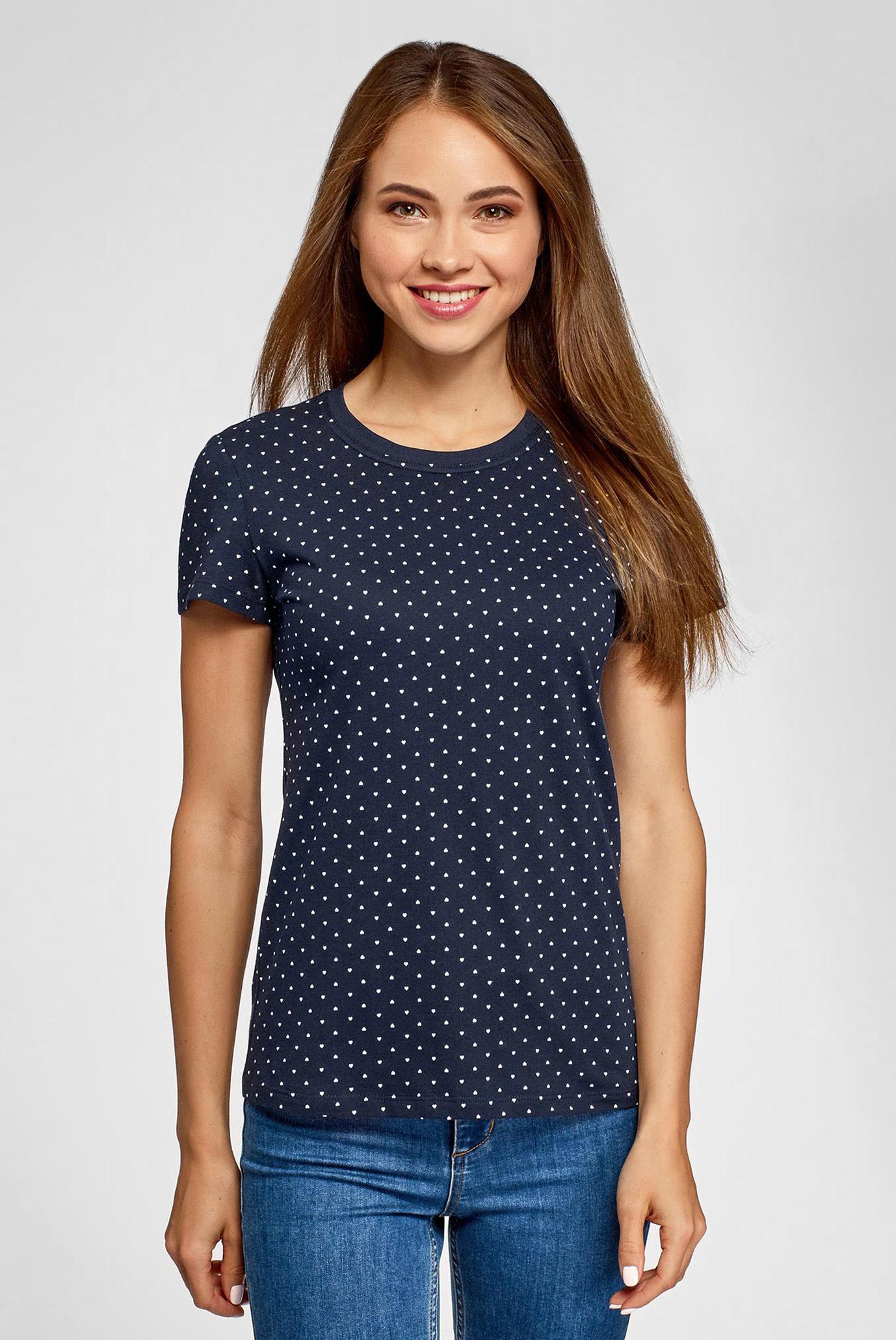 Женская синяя футболка Oodji