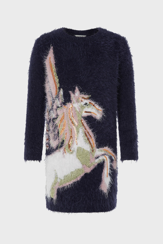 Детское темно-синее платье Pegasus Knitted