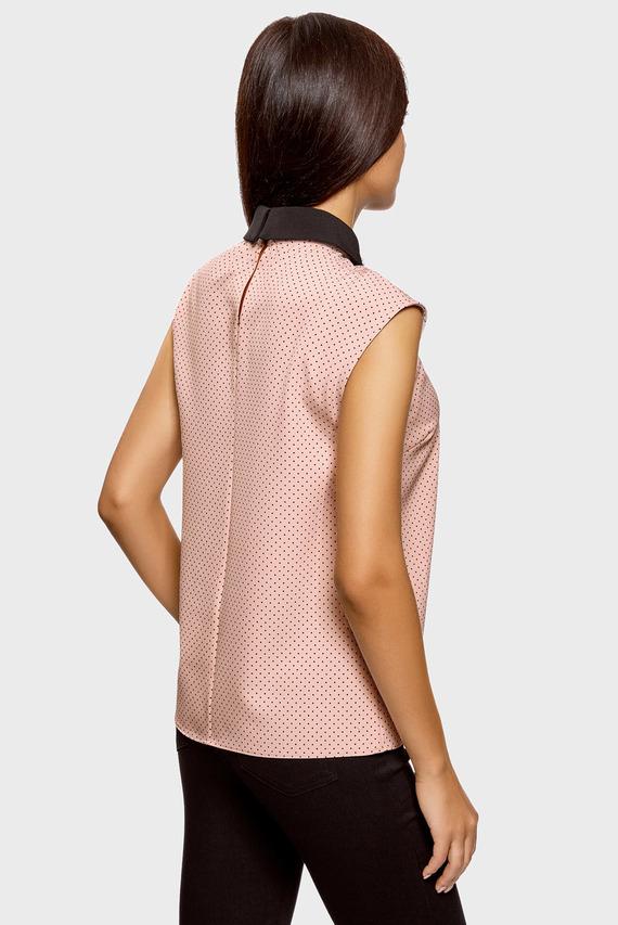 Женская розовая блуза без рукавов