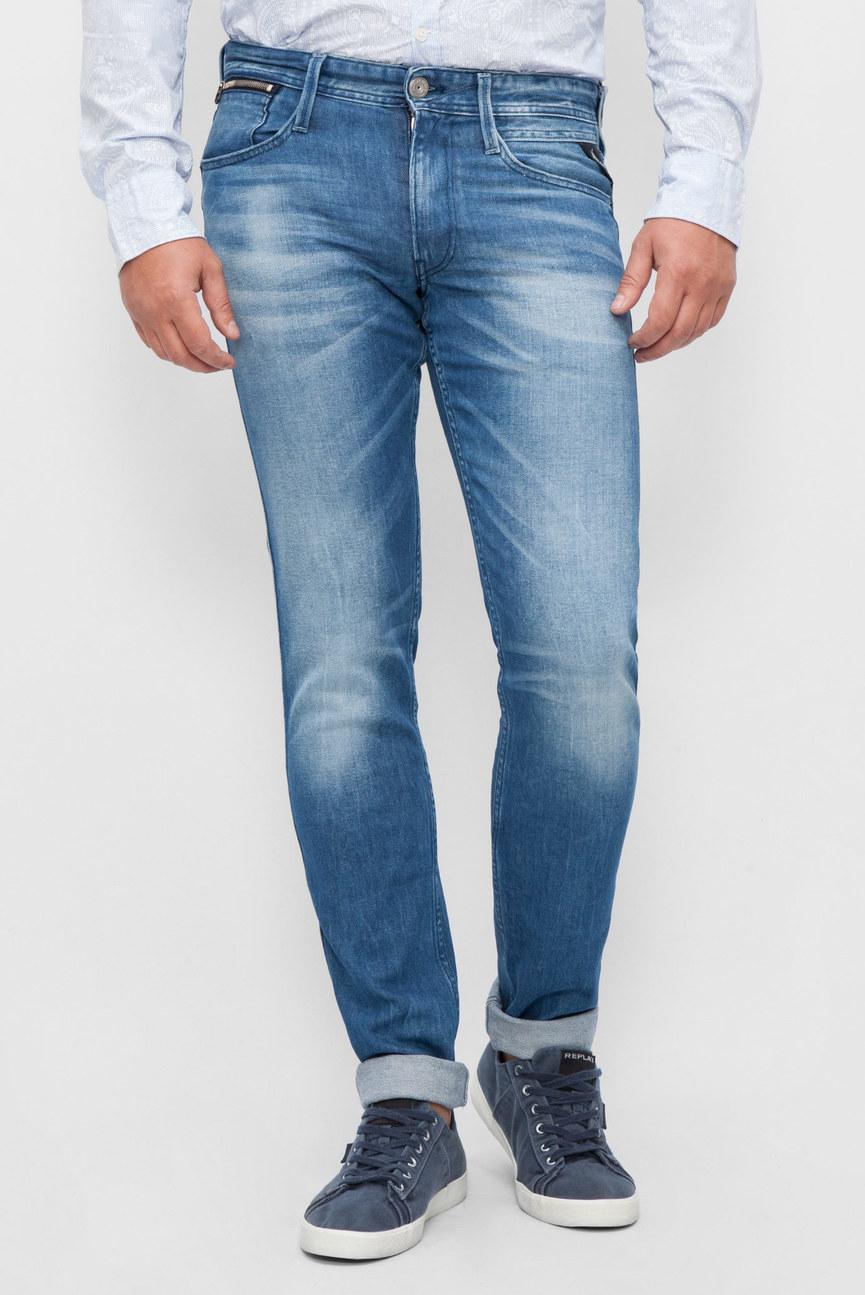 Мужские синие джинсы ANBASS COIN ZIP