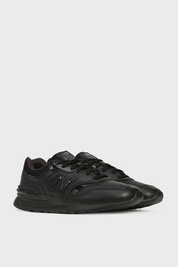 Женские черные кожаные кроссовки 997Н