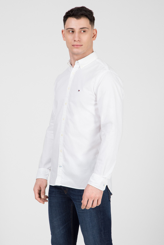Мужская белая рубашка SANDWASHED OXFORD