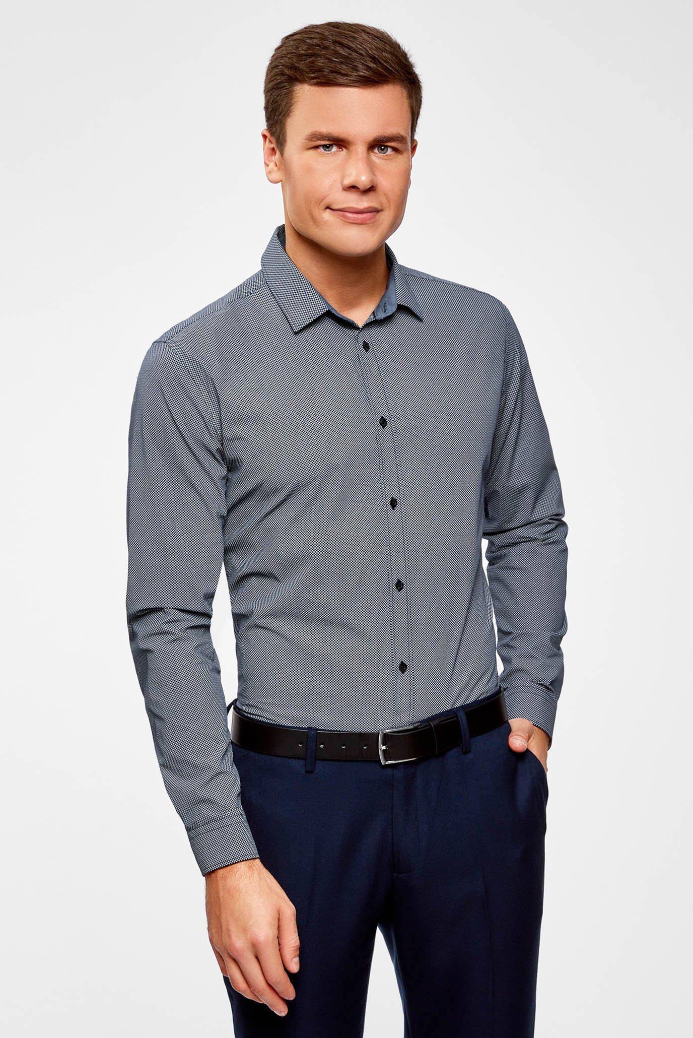 d98f2ea28431a50 Купить Мужская темно-синяя рубашка Oodji Oodji 3L110279M/19370N/7910G –  Киев, Украина. Цены в интернет магазине ...