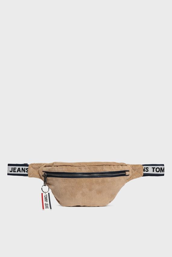 Мужская бежевая вельветовая  поясная сумка TJM LOGO TAPE