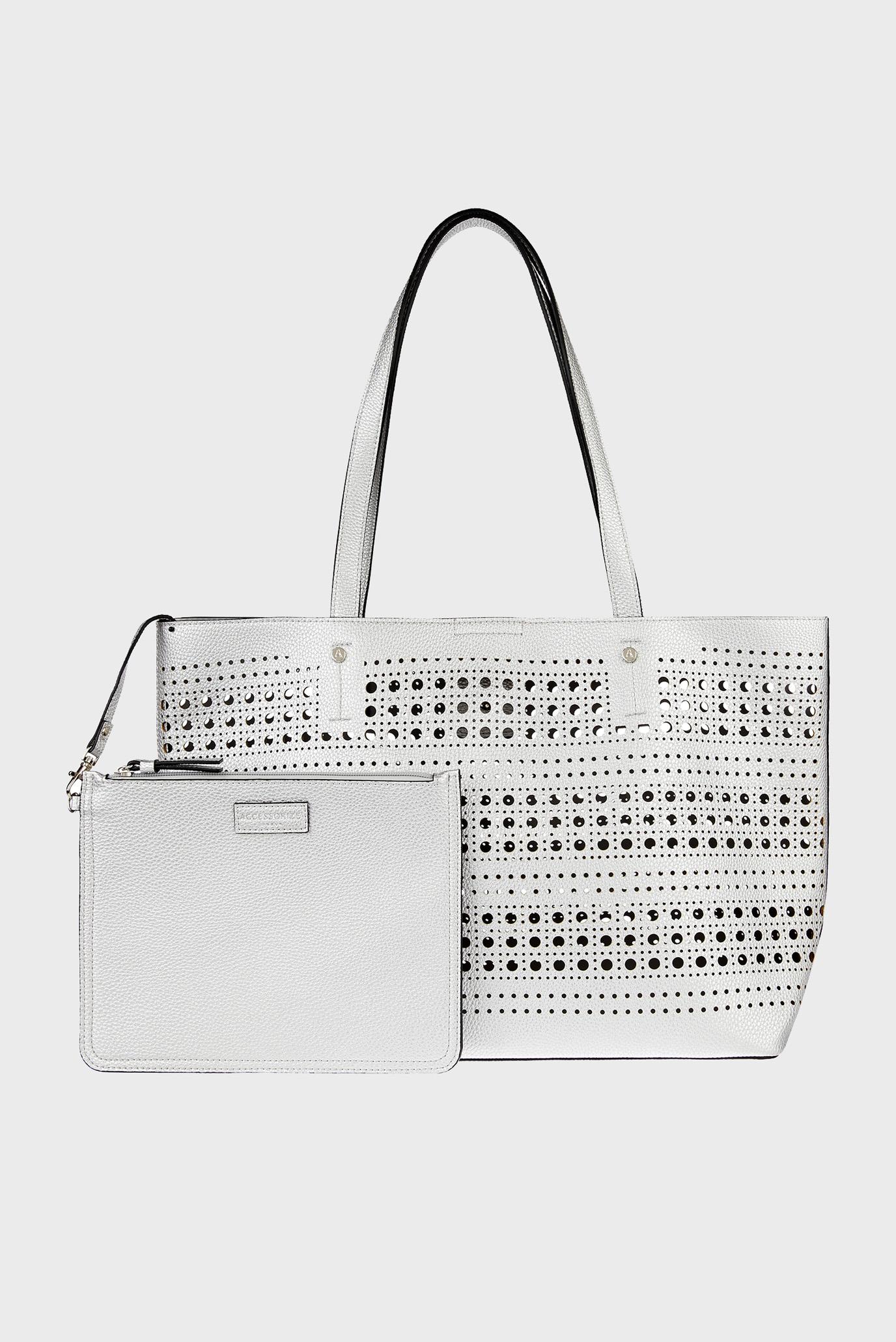 Женская серебристая сумка Punch Out Shopper 1