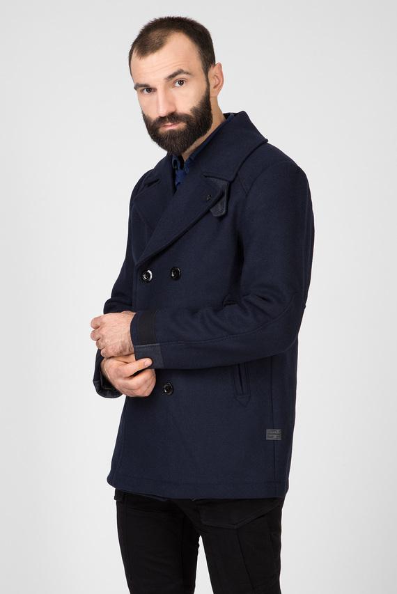 Мужское темно-синее шерстяное пальто Traction