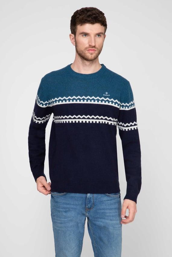 Мужской синий шерстяной свитер с узором HOLIDAY STRIPE